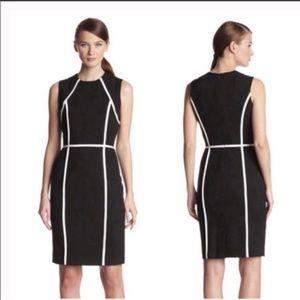 Calvin Klein black white trim sheath dress